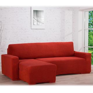 Super strečové poťahy GLAMOUR tehlová, sedačka s otomanom vľavo (š. 210 - 270 cm)