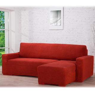 Super strečové poťahy GLAMOUR tehlová, sedačka s otomanom vpravo (š. 210 - 270 cm)
