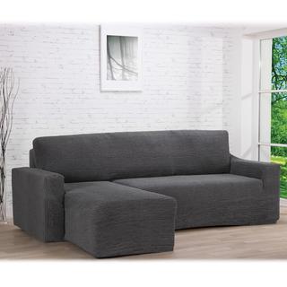 Super strečové poťahy GLAMOUR šedá sedačka s otomanom vľavo (š. 210 - 270 cm)
