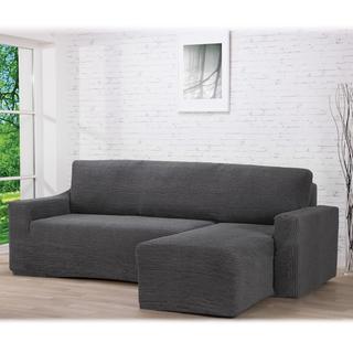 Super strečové poťahy GLAMOUR šedá sedačka s otomanom vpravo (š. 210 - 270 cm)