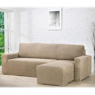 Super strečové poťahy GLAMOUR oriešková sedačka s otomanom vpravo (š. 210 - 270 cm)