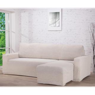 Super strečové poťahy GLAMOUR smotanová, sedačka s otomanom vpravo (š. 210 - 270 cm)