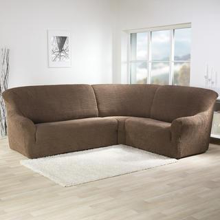 Super strečové poťahy GLAMOUR tabaková, rohová sedačka (š. 350 - 530 cm)