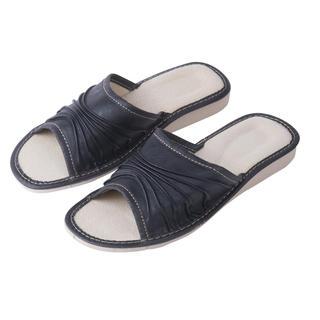 Dámske kožené papuče na kline