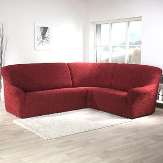 Super strečové poťahy 3D FUSTA tehlové, rohová sedačka (š. 350 - 530 cm)