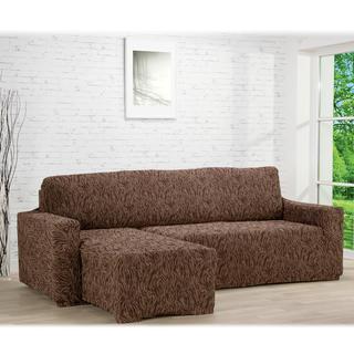Super strečové poťahy 3D FUSTA hnedé, sedačka s otomanom vľavo (š. 210 - 270 cm)