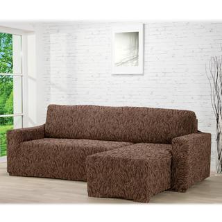 Super strečové poťahy 3D FUSTA hnedé, sedačka s otomanom vpravo (š. 210 - 270 cm)