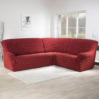 Super strečové poťahy 3D DICKSON tehlová, rohová sedačka (š. 340 - 540 cm)