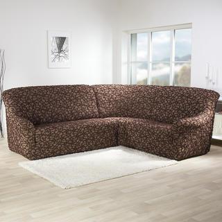Super strečové poťahy 3D DICKSON hnedá, rohová sedačka (š. 340 - 540 cm)