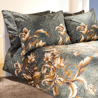 Bavlnené posteľné obliečky Vine šedozlaté