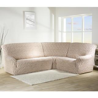 Bielastické poťahy INFINITO béžové, rohová sedačka (š. 350 - 530 cm)