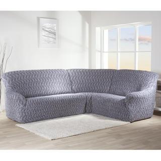 Bielastické poťahy INFINITO šedá, rohová sedačka (š. 350 - 530 cm)