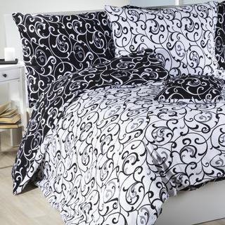 Krepové posteľné obliečky Veronika čiernobiele, štandardná dĺžka