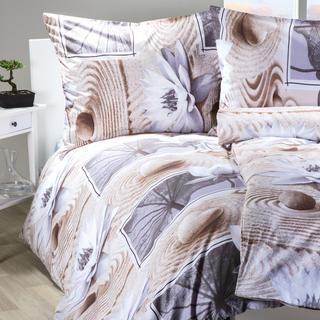 Bavlnené posteľné obliečky Zen hnedobiele