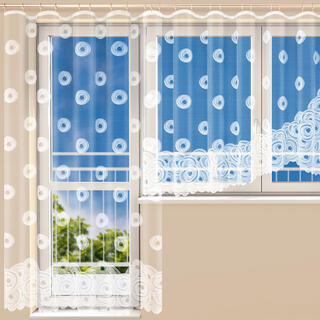 Hotová žakárová záclona VIKTORIE - balkónový komlet