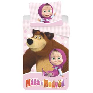Detské posteľné obliečky Máša a Míša v ružovom