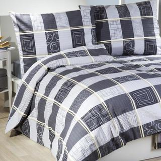 Krepové posteľné obliečky Médea šedá žltý prúžok