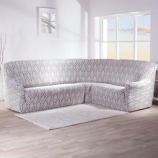 Strečové poťahy CASTELO čiernobiele, rohová sedačka (š. 350 - 530 cm)