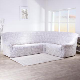 Strečové poťahy CASTELO šedobiele, rohová sedačka (š. 350 - 530 cm)
