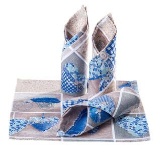 Prestieranie patchwork Srdce modré 4 ks