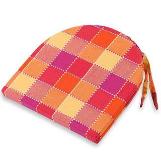 Pologuľatý sedák India kocka oranžový 37 x 37 cm
