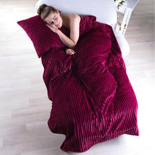 Obojstranná deka s obliečkou na vankúš Ipala bordó