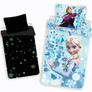Detské posteľné obliečky Frozen Snowflakes svietiace