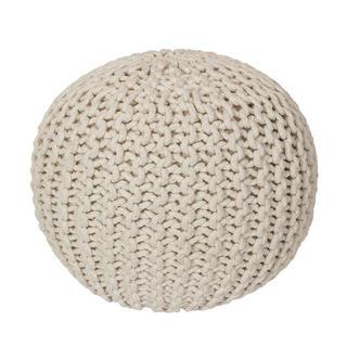 Ručne pletený puf krémový