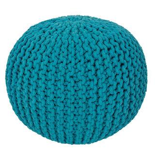 Ručne pletený puf modrý
