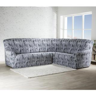 Bielastické poťahy ASTRATO šedá, rohová sedačka (š. 350 - 530 cm)