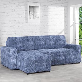 Bielastické poťahy ASTRATO modrá, sedačka s otomanom vľavo (š. 170 - 200 cm)