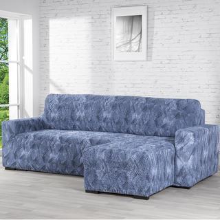 Bielastické poťahy ASTRATO modrá, sedačka s otomanom vpravo (š. 170 - 200 cm)
