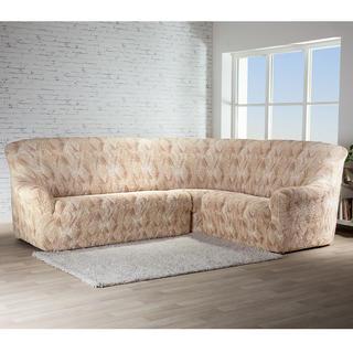Bielastické poťahy ASTRATO béžová, rohová sedačka (š. 350 - 530 cm)