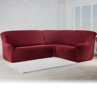 Bielastické poťahy ROMA bordó, rohová sedačka (š. 350 - 530 cm)
