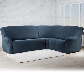 Bielastické poťahy ROMA modrá, rohová sedačka (š. 350 - 530 cm)