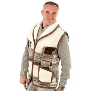 Pánska vesta so šálovým golierom z ovčej vlny Merino