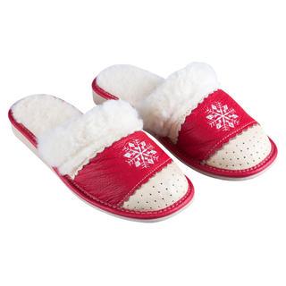 Domáce kožené topánky s ovčím rúnom červené