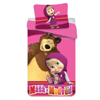 Detské posteľné obliečky Máša a medveď v ružovom