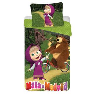 Detské posteľné obliečky Máša a medveď na bicykli