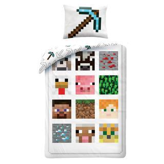 Detské posteľné obliečky Minecraft biele