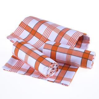 Bavlnené kuchynské utierky Káro oranžové 3 sk