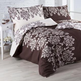 Krepové posteľné obliečky Frida Hnedá