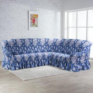 Napínacie poťahy s volánom FIORELA Modrá, rohová sedačka (š. 350 - 530 cm)