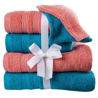 Bavlnené uteráky, osušky a žinky korálovo-tyrkysové 6 ks