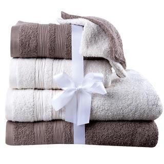 Bavlnené froté uteráky, osušky a žinky smotanovo-hnedé 6 ks