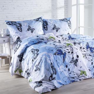 Bavlnená posteľná súprava Butterfly modrá