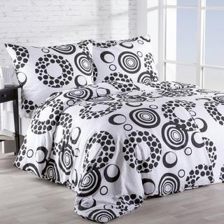 Krepová posteľná bielizeň Kruhy čiernobiela
