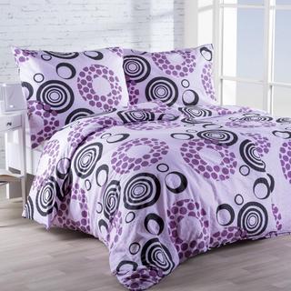 Krepová posteľná bielizeň Kruhy fialová