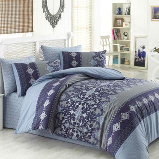 Bavlnené posteľné obliečky LAUREN modré, predĺžená dĺžka