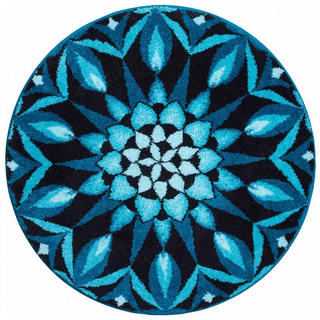 Koberec s protišmykovou úpravou Mandala POZNANIA - modrý